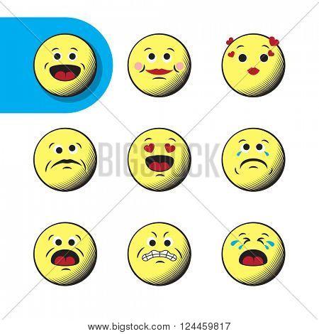 Icon Set of retro emoticons. Modern minimalistic design elements of emoji on white background. vector emoji illustration.