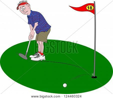 Vector cartoon illustration depicting a golfer, looking dismayed, holding golf club as his golf ball hits the flagpole and bounces off.