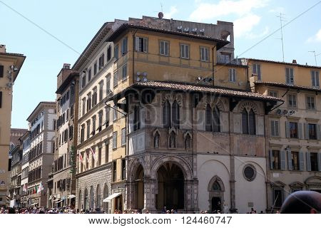 FLORENCE, ITALY - JUNE 05: Loggia del Bigallo on Piazza San Giovanni in Florence, Italy, on June 05, 2015