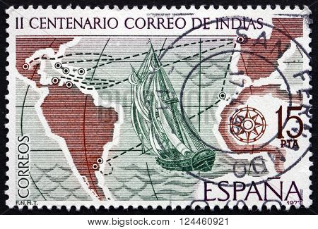 SPAIN - CIRCA 1977: a stamp printed in the Spain shows Sailing Ship and Mail Routes 18th Century circa 1977