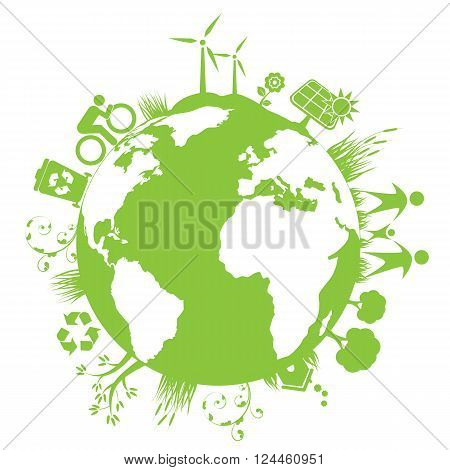 Green clean planet with eco elements on white background