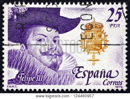 SPAIN - CIRCA 1979: a stamp printed in the Spain shows Philip III King of Spain Hapsburg Dynasty circa 1979
