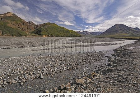Braided River Coming out of the Hills in Denali National Park in Alaska