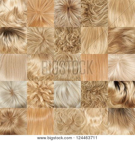 Multiple blond hair textures as a set of a backgrounds or a seamless backdrop pattern