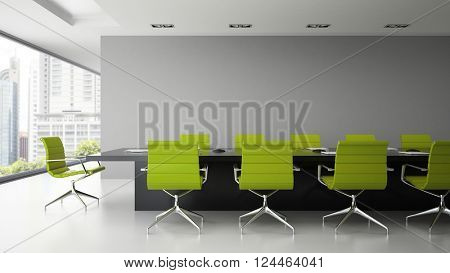 Interior of  boardroom with green armchairs 3D rendering