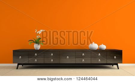 Part of interior with retro consol and orange wall 3D rendering