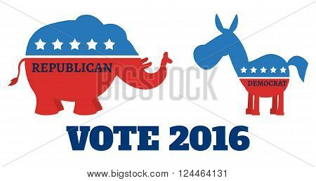 Political Elephant Republican Vs Donkey Democrat. Illustration Flat Design Style Isolated On White With Text Vote 2016
