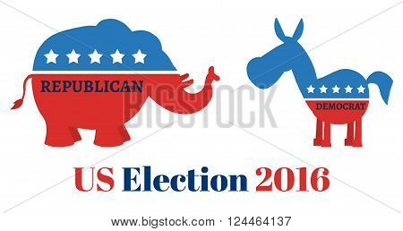 Angry Political Elephant Republican Vs Donkey Democrat