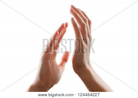 beautiful young guy hands isolated on white background giving applause