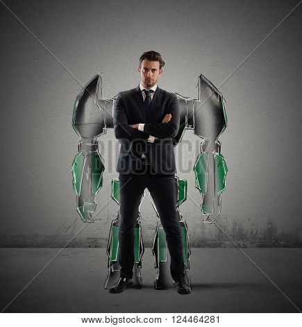 Businessman with a silhouette of a robot