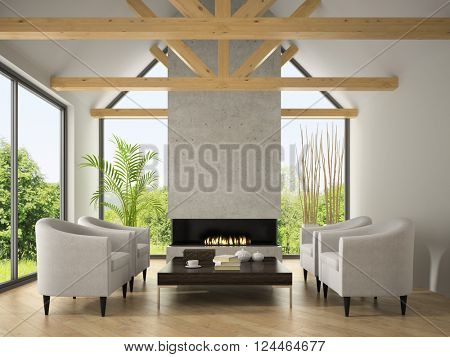Interior of living room with  armchairs and fireplace 3D rendering