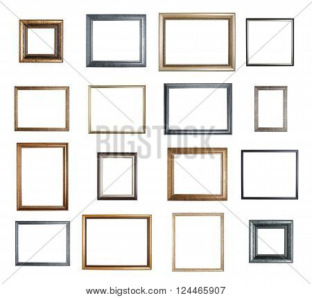 Empty copyspace wooden picture frame isolated over the white background, set of sixteen images
