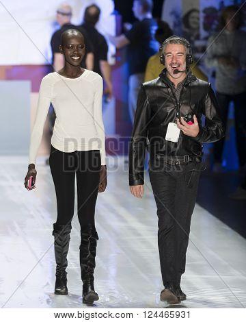 New York, NY - February 11, 2016: Mari Agory walks the runway at rehearsal for Desigual Fall 2016 fashion show during New York Fashion Week