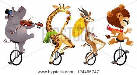 Funny wild animals on unicycles. Vector cartoon isolated characters