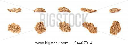 Single whole grain cereal flake set, isolated over the white background, each flake presented in two foreshortenings