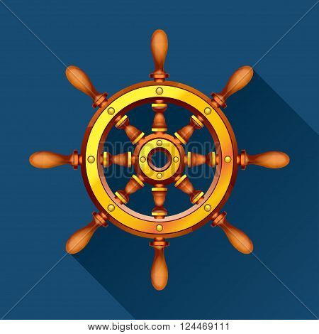 illustration of wooden boat steering wheel on blue background