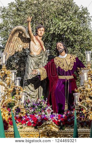 San Fernando, Spain - March 31, 2015: Holy Week in San Fernando Cadiz Spain. Prayer of Our Lord in the Garden. This Brotherhood goes in procession on Tuesday of Holy Week during the celebration of this important religious.