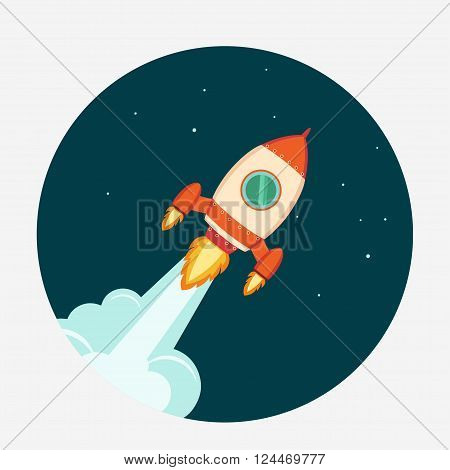 Rocket Start up concept flat style. Space rocket launch. Project development.  Vector