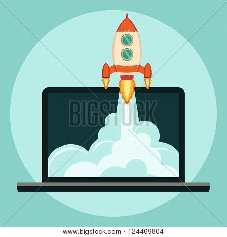 Laptop with Rocket Start up concept flat style. Space rocket launch. Business Project development.  Vector