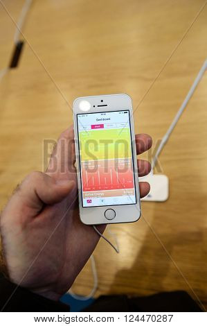PARIS FRANCE - APR 4 2016: Health app dashboard on the new Apple iPhone SE during the sales launch of the latest Apple Inc. smartphone and iPad Pro at the Apple store in Paris France