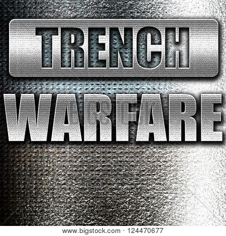 Grunge metal trench warfare sign with some soft lines