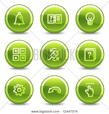 Organizer Icons , Green Circle Glossy Buttons