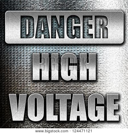 Grunge metal high voltage sign with some soft smooth lines