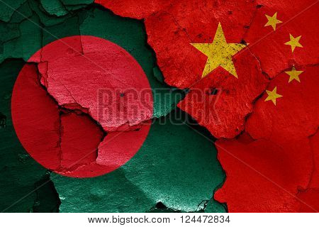 3d flags of Bangladesh and China painted on cracked wall