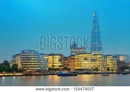 Tower Bridge in London as the famous landmark at dusk.
