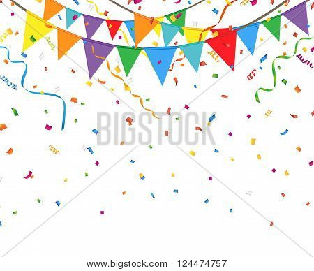 Party flags with confetti and streamer on a white background