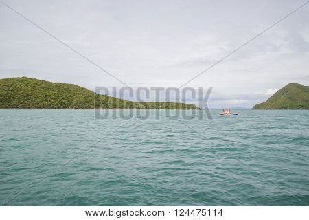 Fishing ship sailing in the Gulf of Thailand after a successful fishing trip.
