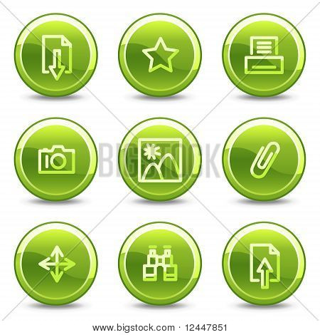 Image Library Icons, Green Circle Glossy Buttons