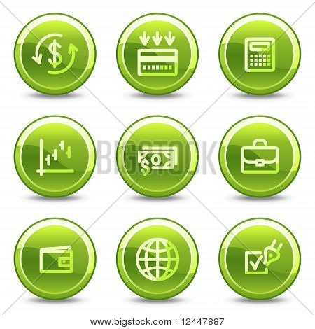 Finance Icons , Green Circle Glossy Buttons