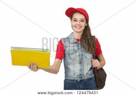 Student holding books isolated on white