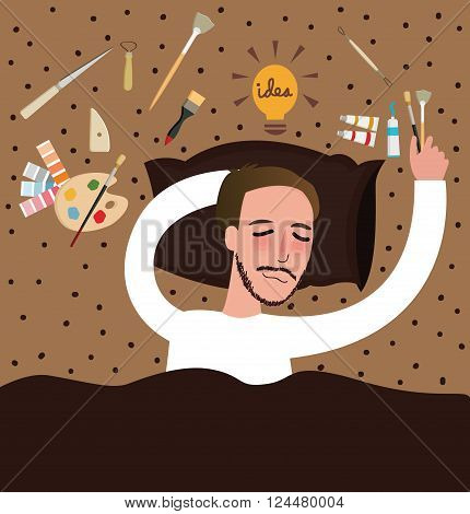artist paint fall sleep find ideas painting inspiration exhausted art thinking brush palette vector