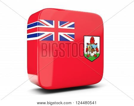 Square Icon With Flag Of Bermuda Square. 3D Illustration