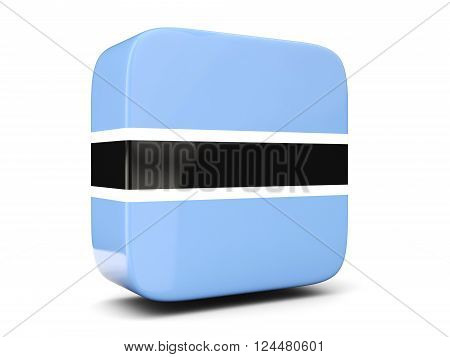 Square Icon With Flag Of Botswana Square. 3D Illustration