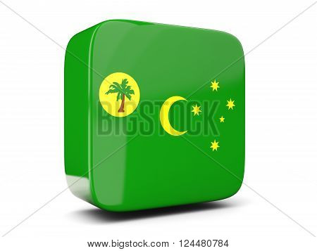 Square Icon With Flag Of Cocos Islands Square. 3D Illustration