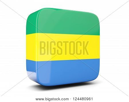 Square Icon With Flag Of Gabon Square. 3D Illustration