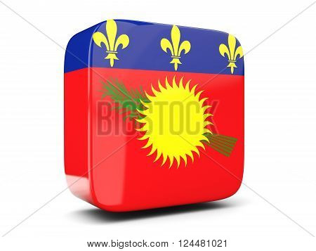 Square Icon With Flag Of Guadeloupe Square. 3D Illustration