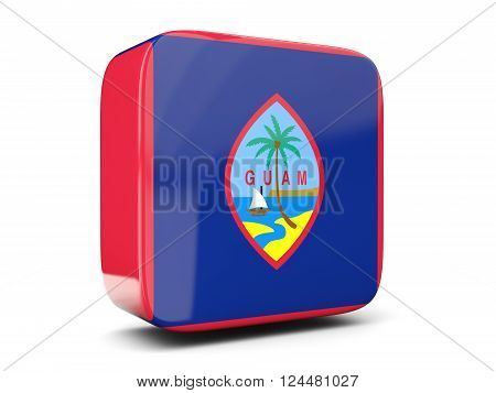 Square Icon With Flag Of Guam Square. 3D Illustration