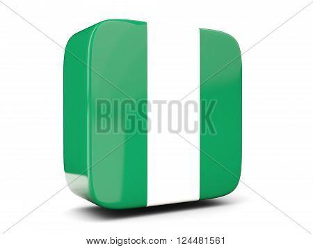 Square Icon With Flag Of Nigeria Square. 3D Illustration