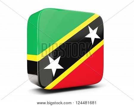 Square Icon With Flag Of Saint Kitts And Nevis Square. 3D Illustration