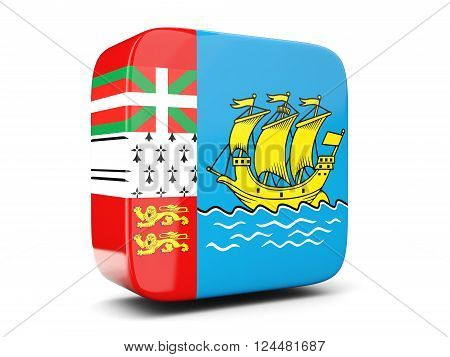 Square Icon With Flag Of Saint Pierre And Miquelon Square. 3D Illustration
