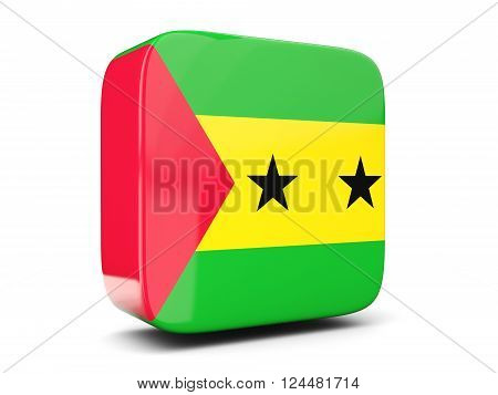 Square Icon With Flag Of Sao Tome And Principe Square. 3D Illustration