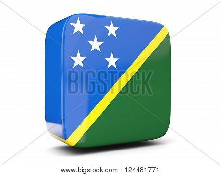 Square Icon With Flag Of Solomon Islands Square. 3D Illustration