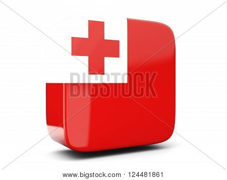 Square Icon With Flag Of Tonga Square. 3D Illustration