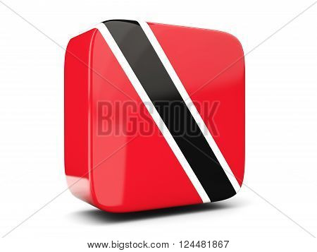 Square Icon With Flag Of Trinidad And Tobago Square. 3D Illustration
