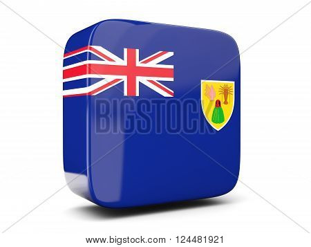 Square Icon With Flag Of Turks And Caicos Islands Square. 3D Illustration