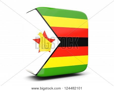 Square Icon With Flag Of Zimbabwe Square. 3D Illustration